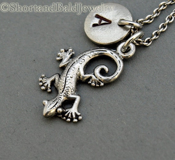 lizard charm necklace antique silver initial necklace