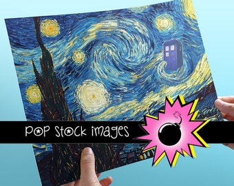 Doctor Who Van Gogh Starry Night Poster - Printable Art Poster - TARDIS - Digital Poster 8x10 - Doctor Who Poster Printable - 11th Doctor