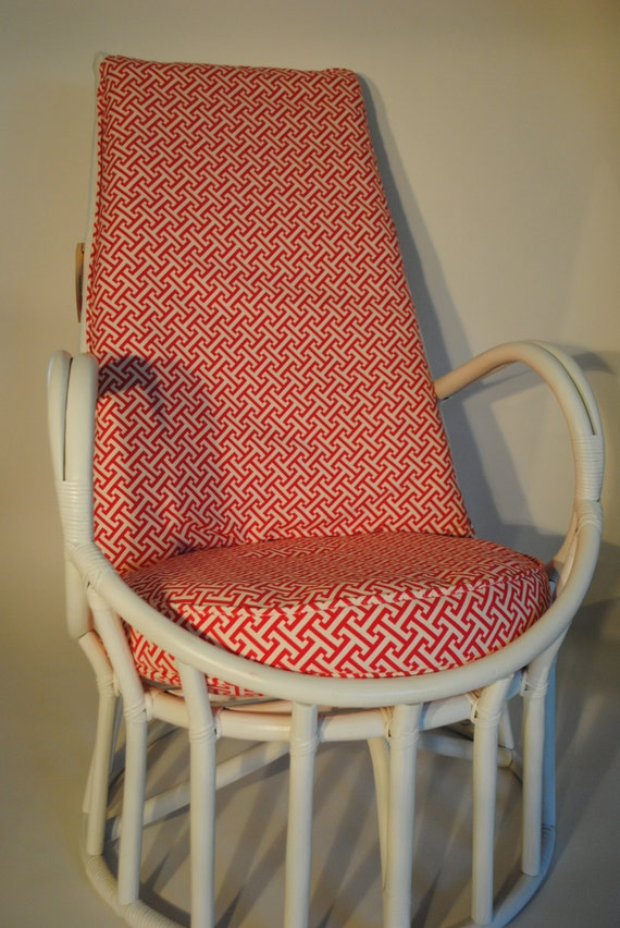 Items Similar To Vintage White Rattan Swivel Chair And