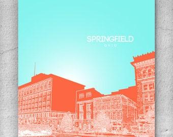 Springfield Ohio Office Poster / City Skyline Art Poster / Any City or Landmark