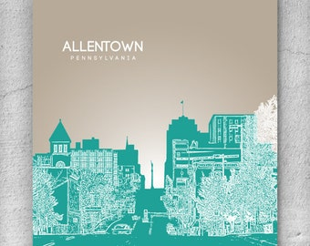 Home Decor Skyline Art Poster  / Allentown PA Skyline Poster / Any City or Landmark