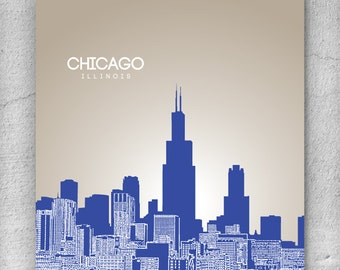 Chicago Illinois Skyline / Home Office Art Poster Print / 8x10 Print Any City or Location / Version 1