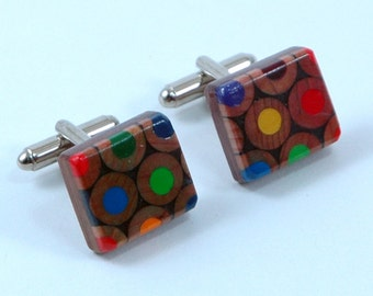 recycled handmade colouring pencil cufflinks