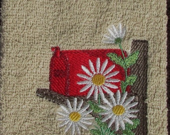 Machine Embroidered Towel With Mailbox And Daisies
