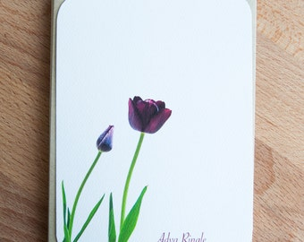 Personalized Stationary Set / Purple Tulips Notecard Set/ Custom Note Cards / Gift for Her