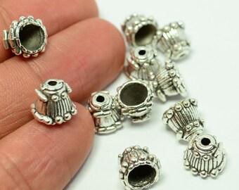 24 Pieces Antique Silver 8x8 mm Bead Caps