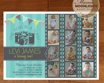 One Year In A Flash First Birthday Party Invitation Digital Printable 5x7 or 4x6 Photo Card, Aqua Blue, Lime Green, Gray / Grey