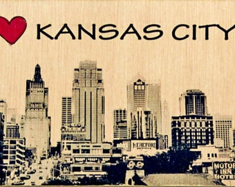 "5""x16"" Photo Transferred onto Wood  'I Heart KC' (free shipping)"