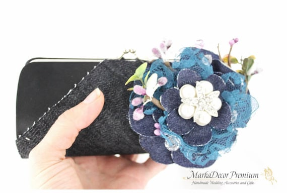 Denim Wedding Bridal Clutch Flower Brooch Purse in Black, Navy, Denim and White with Beautiful Handmade Flowers, Brooches and Pearls
