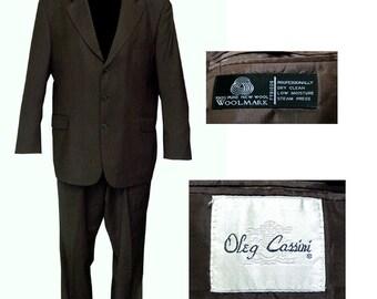 Oleg Cassini Dark Olive Green 3 Button Suit / Mad Men Suit / Mod Suit