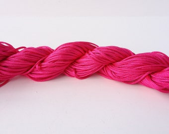 1 Skein of 1mm Hot Pink Nylon Chinese Knotting Cord for Macrame