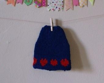"Blythe 12"" Doll Skirt Hand Knit Dark Blue Wool Red Heart Border"