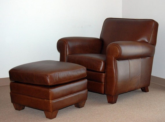 genuine high end leather club cigar chair and ottoman