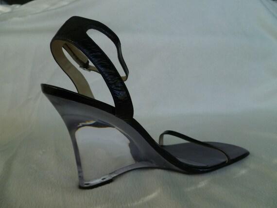 vintage calvin klein lucite high heel wedge black patent