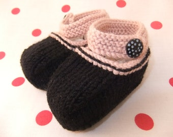 Hand knitted black and pink Mary-Jane baby shoes  - 0-3, 3-6 and 6-9 months