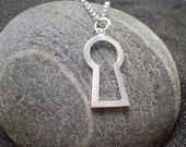 silver keyhole pendant - layering necklace