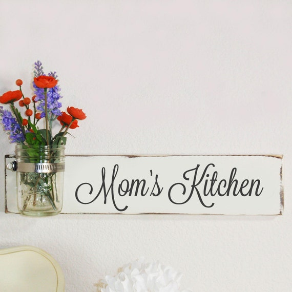 Mommas Kitchen: Mom's Kitchen Sign With Mason Jar Ivory By