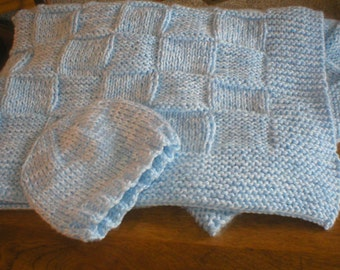 Checkered Baby Afghan and Cap