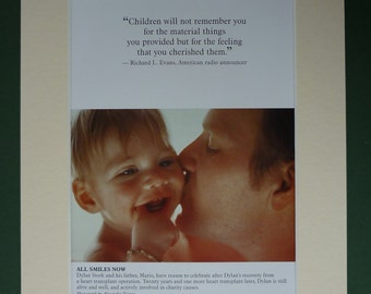 Modern Fathers Day Print - Children - Smile - Heart Transplant Operation - Mounted Picture - Matted - Family - Love - Son