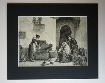 Original 1882 Spanish Matted Print - Courtyard - Yard - Black & White - Rustic - Mediterranean - Spain