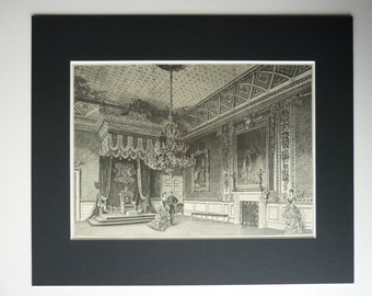 Antique 1886 St James Palace Matted Print - Throne Room - Fireplace - Chandelier - Royal - Royalty - Victorian - Opulent