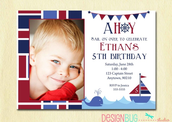 boys nautical birthday invitation first by designbugstudio, Birthday invitations