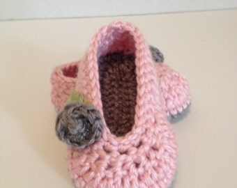 Crochet Baby Booties, Ballet Slippers, 0-3 Months