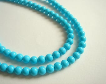 100 Blue Glass Beads,Pastel Blue Pearls