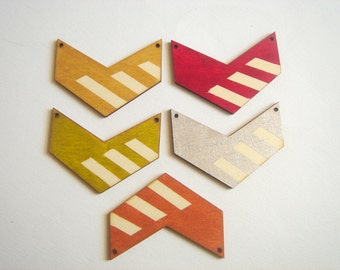 Painted Wood Chevrons, Wood Chevron Tile for Jewelry,Geometric Jewelry,