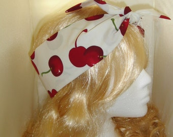 1950s Vintage Cream Cherry Head Scarf - Burlesque Rockabilly Hair Tie Cherries