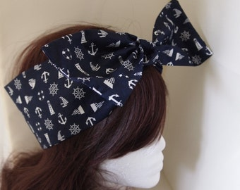 Nautical Bow Head Scarf - Sailor Navy Boat Sea Rockabilly Psychobilly Pin Up Girl Cute Steampunk Vintage Classic Dancing