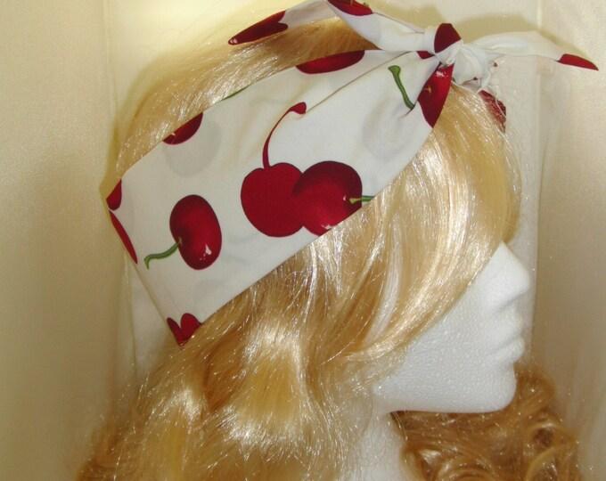 1950s Vintage Cream Cherry Head Scarf - Burlesque Rockabilly Hair Tie Cherries