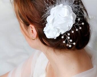 Bridal headpiece, wedding headpiece, hairaccessory, hairflower, fascinator, bridal accessory