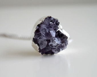 February Birthstone Amethyst Druzy Necklace. Silver Heart Pendant. Valentine gift for her.