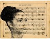 Original YOUR Photo Customized Art Print, VINTAGE Music Notes Page Collage, Music Notes Page YOUR Photo, Family Anniversary Love Gift