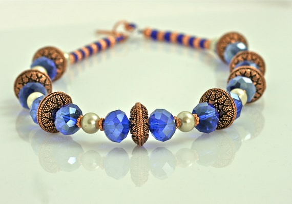 Copper Necklace with Royal Blue Crystal in Renaissance Fantasy Style