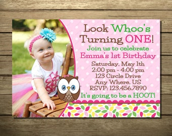 Look Whoo's Turning One Invitation OR Thank You Card Who's Birthday Party Invitations Digital File