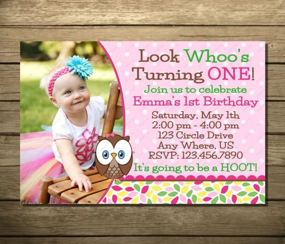 Look Whoo's Turning One Invitation OR Thank You Card