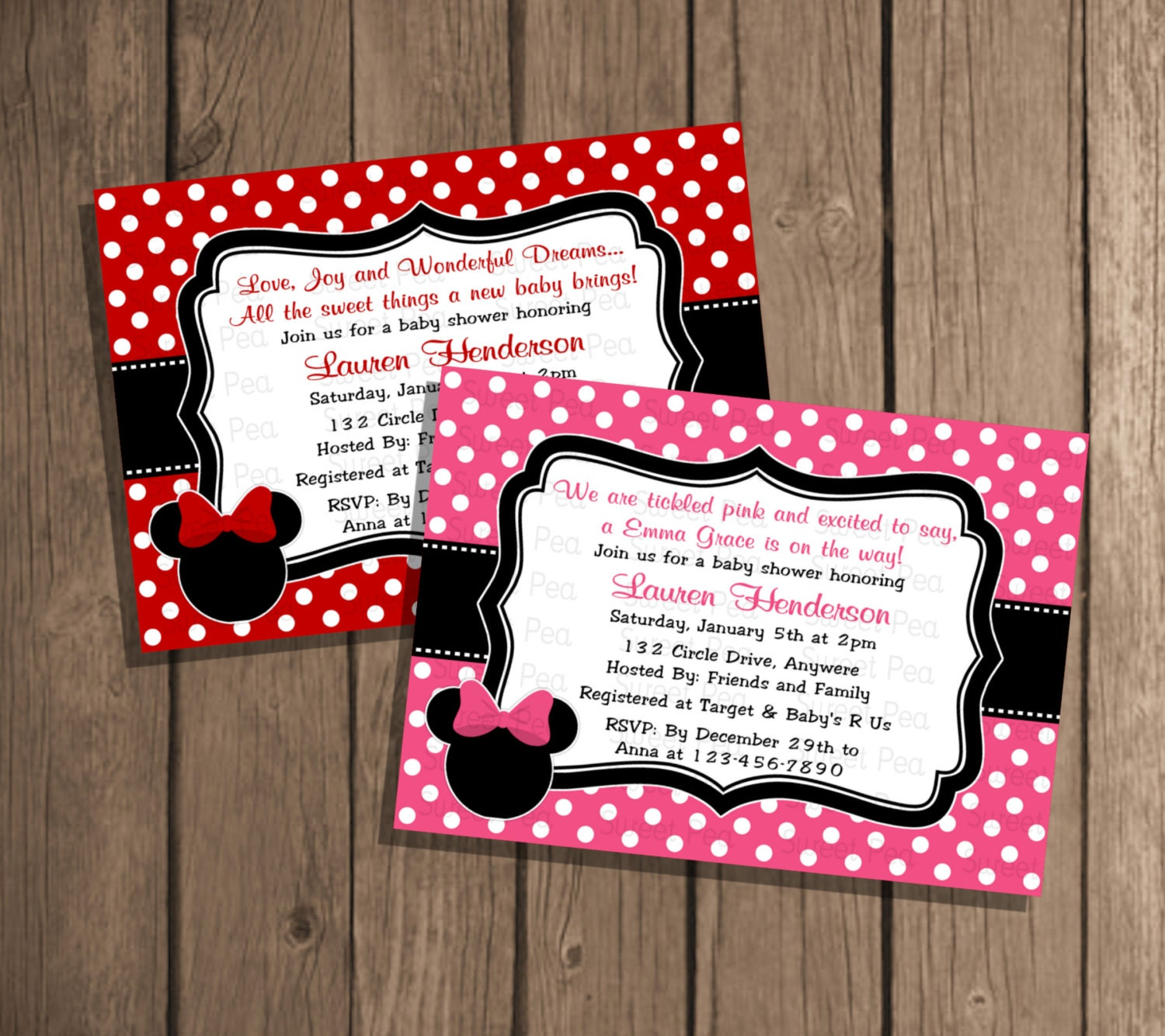 custom color minnie mouse baby shower girl by periwinklepapery