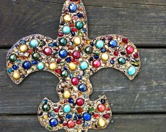 "11"" x 14"" Wood fleur de lis with glass beads"