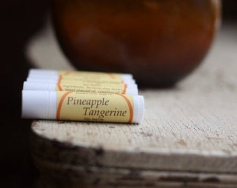 Pineapple Tangerine Lip Balm.  Natural Lip Balm, Hostess Gift, Stocking Stuffer, Gift Handmade with Beeswax and Coconut Oil