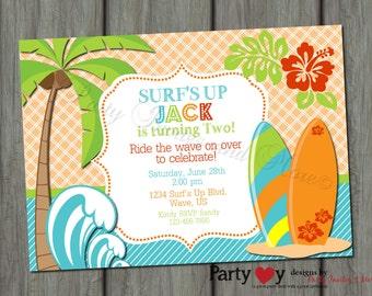 Surfer Surf's Up Birthday Invitation Printable