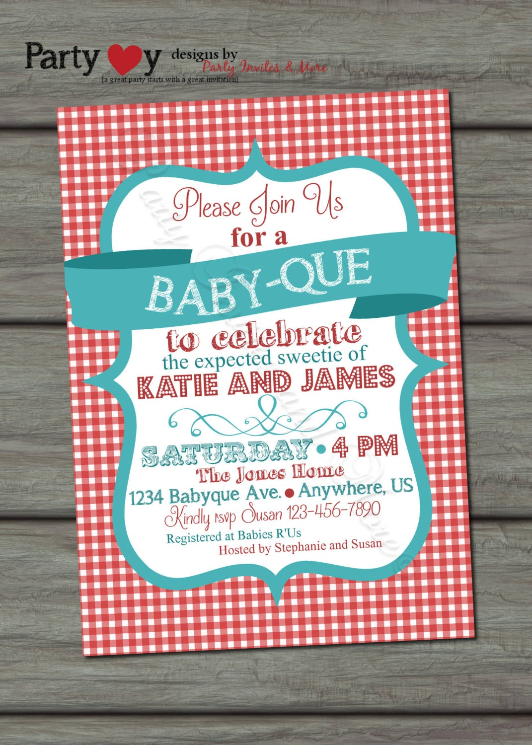 baby q invitations | etsy, Baby shower invitations