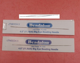 2 Big Eye Beading Needles , 4.5 inch (11.4cm)
