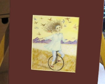 Cheerful Picture   Girl on Unicycle with Birds