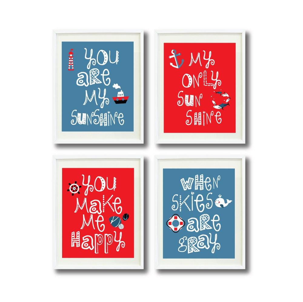 You Are My Sunshine Nautical Art Print Set of Four 11x14-Kids Room-Nursery-Home Decor-Red-White-Blue-Anchor-Whale-Lighthouse-Boat-Wheel-4