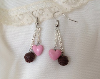 Darling Truffle and Heart Dangle Earrings