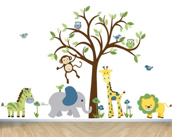 Safari Animal Wall Decal, Children Wall Decals, Boy Nursery Wall Decal, Jungle Animal wall sticker, Kids Room Wall Decal, Blue/Green Design