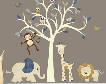 Cream Tree Decal, Nursery Wall Decal, Safari Wall Decal, Tree Wall Decal, Wall Stickers, Jungle Wall Decal, XXL Denim Design