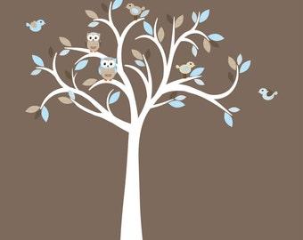 Owl decal, Owl tree wall sticker, owl wall decal, blue owl set, nursery owl decor, Cocoa Blue Owl Tree, White Tree